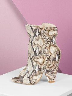 Peep Toe Gathered Shaft Cone Heel Snake Booties