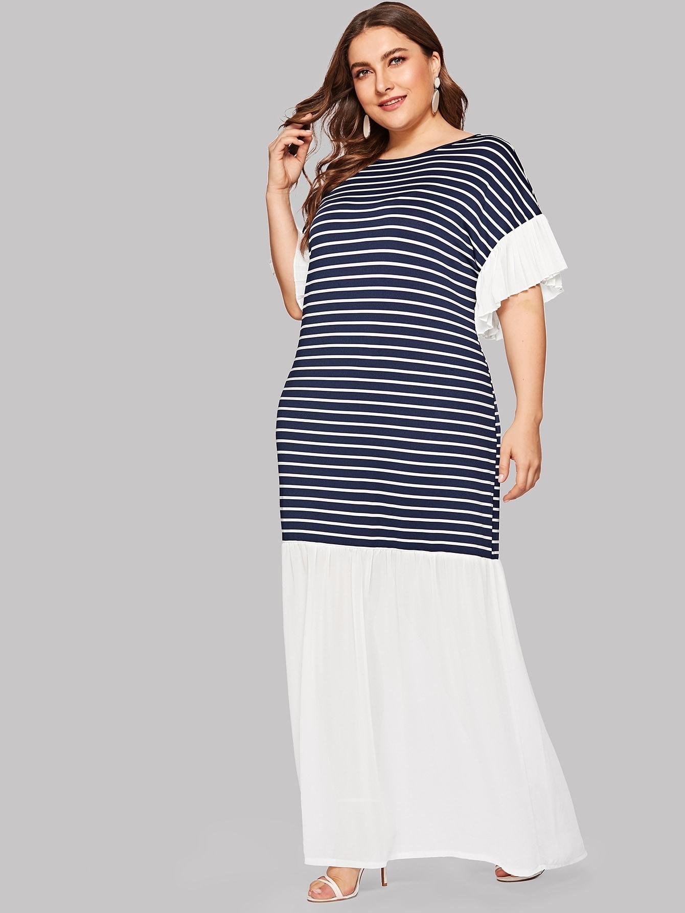 Размера плюс контрастное полосатое платье