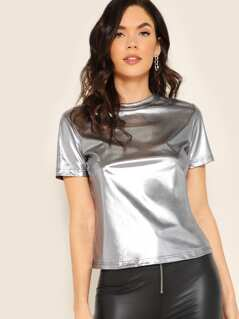 Short Sleeve Metallic Top
