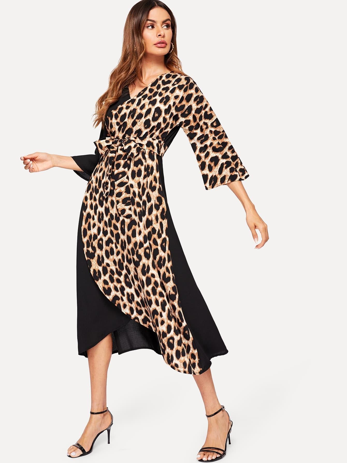 Купить Контрастное платье с поясом и леопардовым принтом, Andy, SheIn