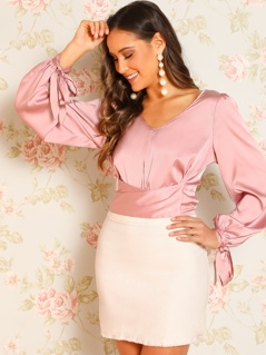 Knot Cuff Self Tie Satin Top