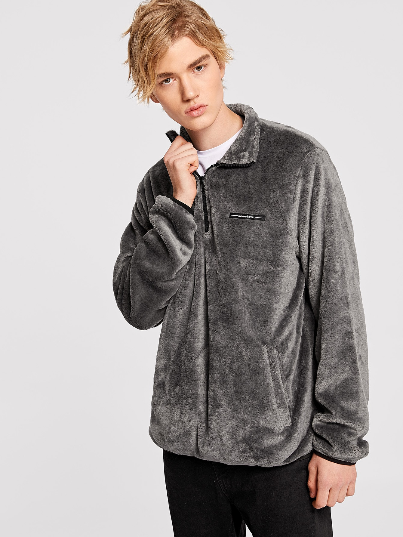 Купить Мужская тедди куртка с укороченной молнией, Alex, SheIn