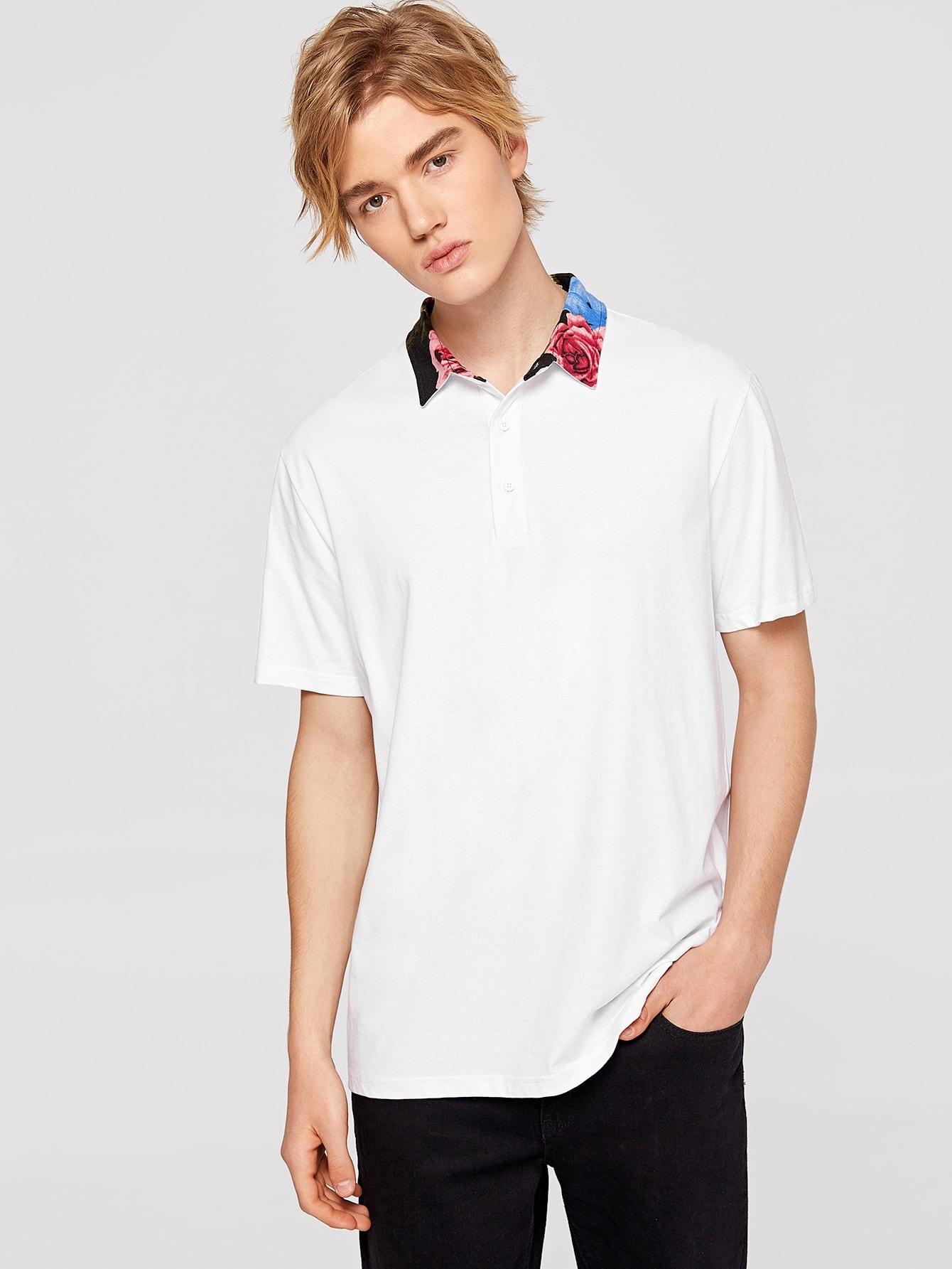 Купить Мужская блузка-поло с контрастным цветочным воротником, Alex, SheIn