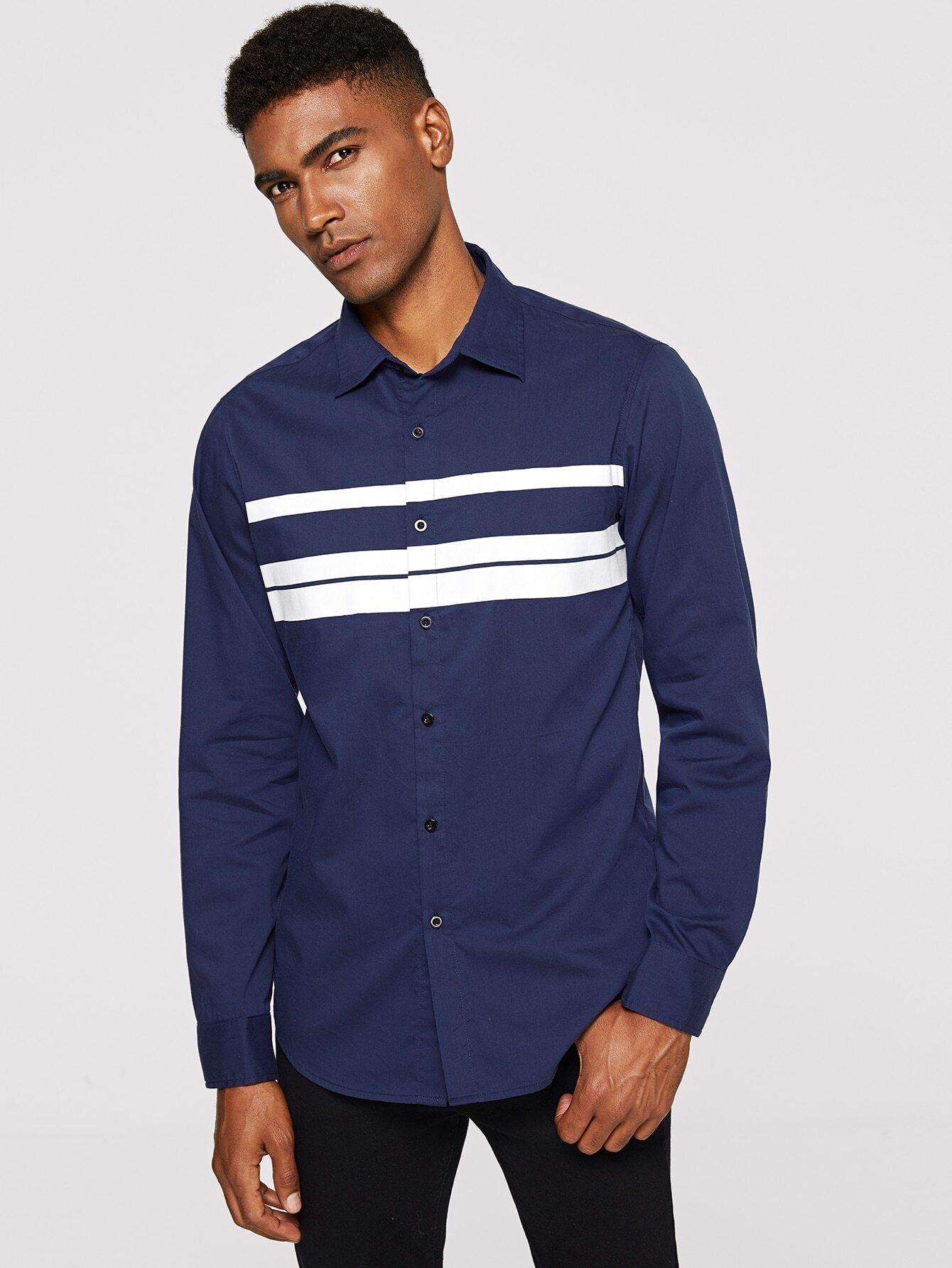 Купить Мужская полосатая рубашка, Johnn Silva, SheIn