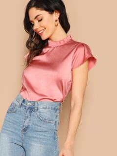 Pleated Frilled Neck Satin Top
