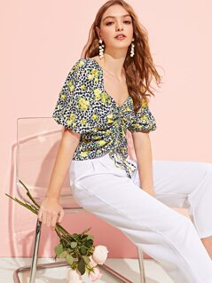 Drawstring Ruched Leopard & Floral Print Top