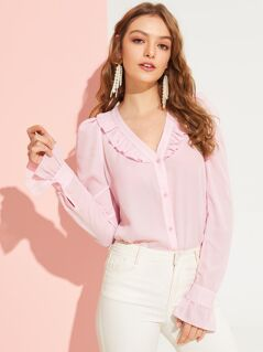 Ruffle Trim Solid Buttoned Blouse