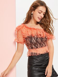 Asymmetrical Shoulder Layered Ruffle Top Without Bra