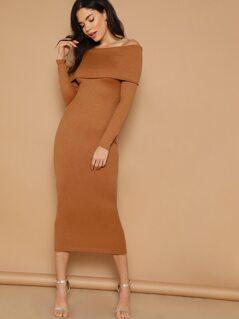 Foldover Bardot Rib-knit Bodycon Midi Dress