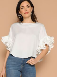 Layered Exaggerate Flounce Sleeve Curved Hem Top
