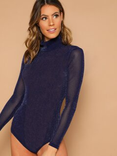 Mock-neck Glitter Sheer Mesh Bodysuit Without Bra