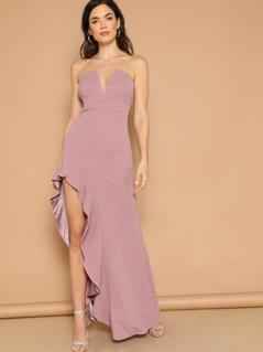 V Bar Ruffle High Split Prom Dress