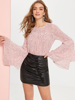 Tiered Bell Sleeve Frill Detail Dot Blouse