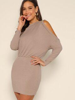 Open Shoulder Blouson Dress