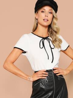 Contrast Tipping Tie Neck Blouse
