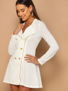 Double Breasted Zip Front Blazer Dress