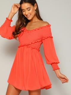 Neon Orange Shirred Cross Wrap Front Bardot Dress
