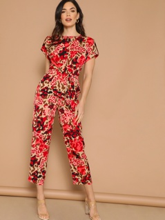 Rolled Tab Sleeve Knot Front Leopard Jumpsuit