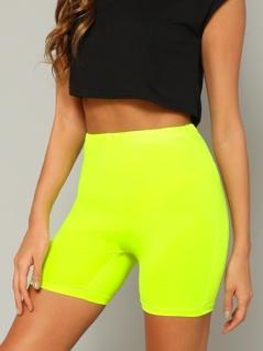 Neon Yellow Solid Leggings Shorts
