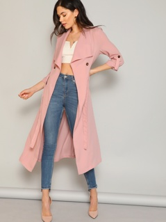Draped Collar Rolled Tab Sleeve Trench Coat