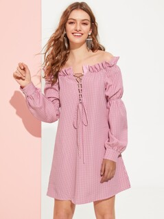 Lace Up Plunging Gingham Frilled Bardot Dress