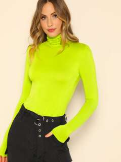 Neon Lime High Neck Slim Fitted Tee
