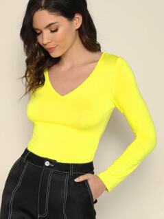 Neon Yellow V-neck Form Fitted Tee