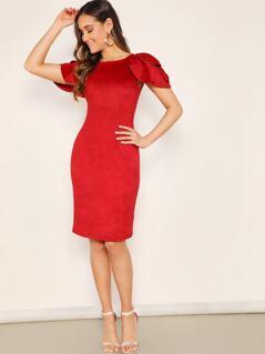 Split Back Petal Sleeve Dress