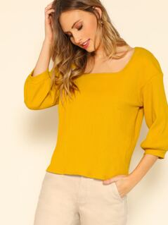 Square Neck Solid Top