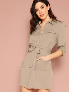 Pocket Front Rolled Tab Sleeve Shirt Dress