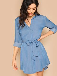 Roll Tab Sleeve Belted Dress