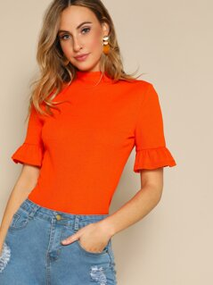 Neon Orange Mock-neck Ruffle Cuff Tee