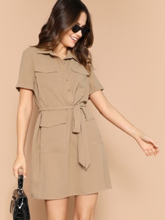 Half Placket Multi-pocket Belted Dress