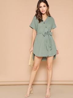 Button Up Curved Dip Hem Dress