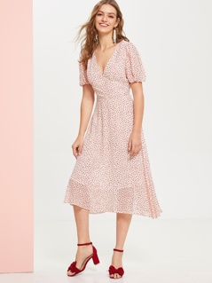 Plunge Neck Puff Sleeve Empire Waist Dress