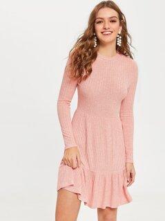 Rib-knit Ruffle Hem Dress