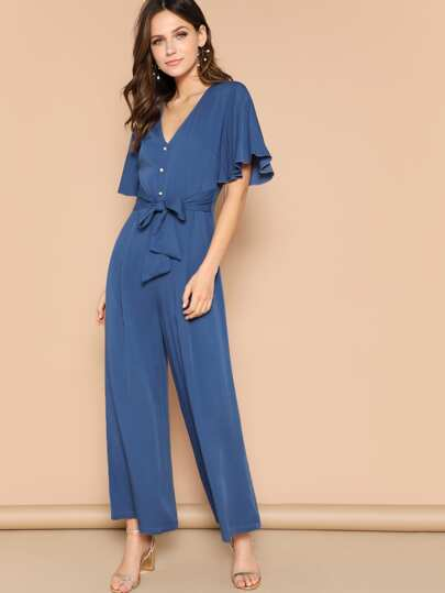 Button Front Flutter Sleeve Belted Palazzo Jumpsuit
