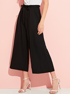Waist Knot Pleated Wide Leg Pants