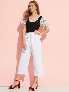 Drawstring Waist Pleated Solid Pants