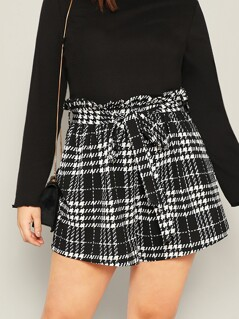 Plus Paper Bag Waist Plaid Shorts