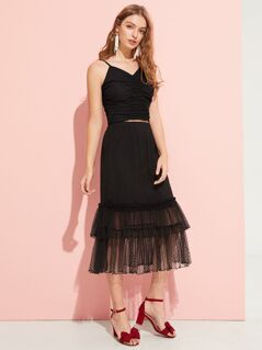 Dot Jacquard Mesh Overlay Tiered Skirt
