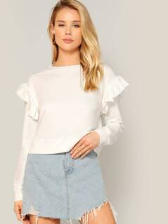 Ruffle Trim Wide Hem Solid Pullover