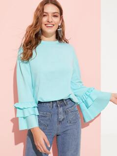 Solid Tiered Ruffle Sleeve Pullover