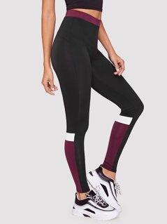 Contrast Waistband Color-block Leggings