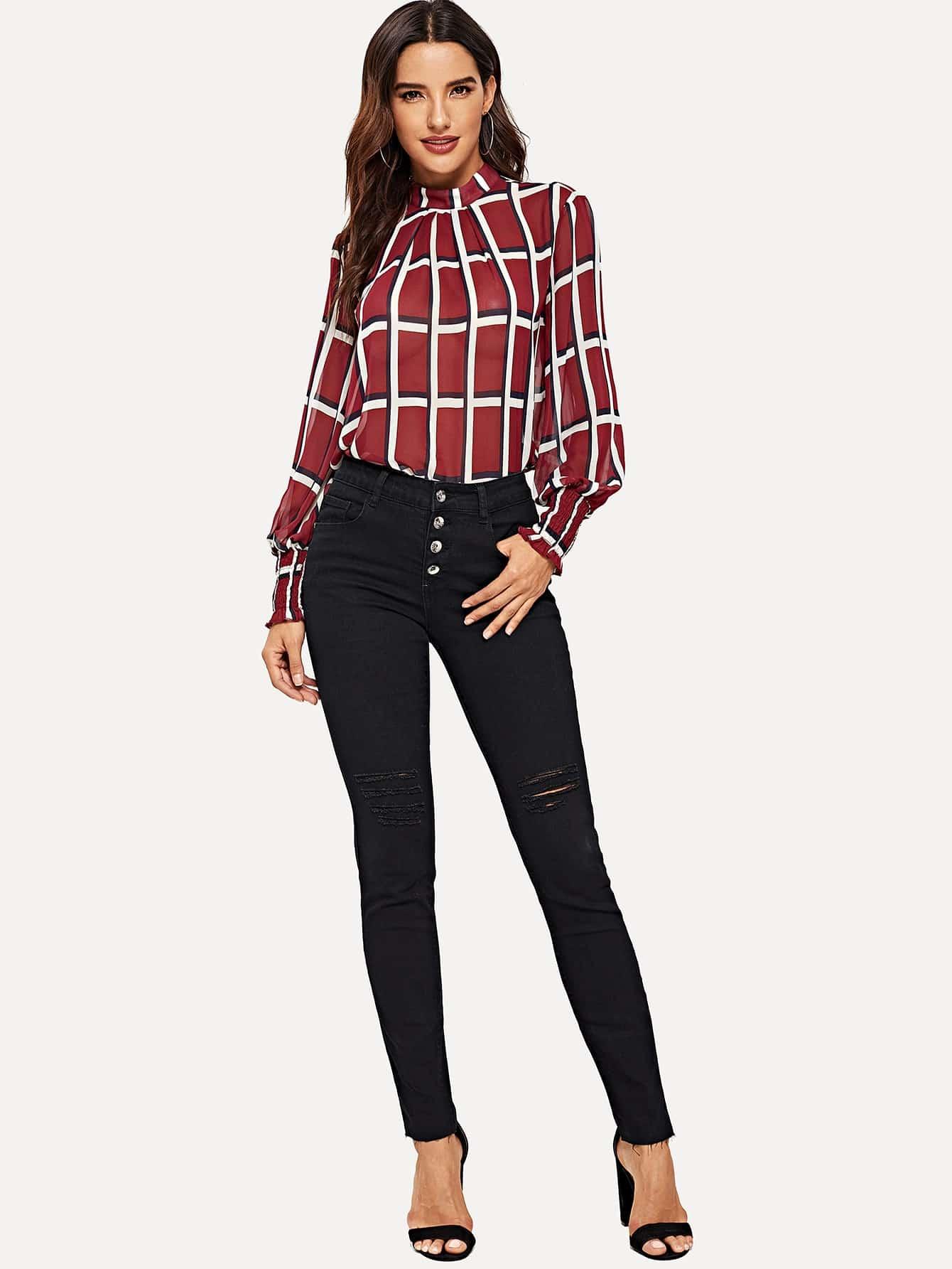 Купить Рваные приталенные джинсы с пуговицами, Juliana, SheIn