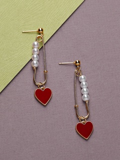 Safety Pin Pearl And Heart Accent Dangle Earrings
