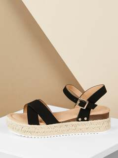 Criss Cross Strap Buckled Ankle Flatform Sandals