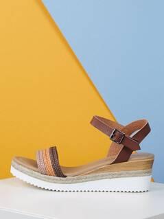 Braided Strap Buckled Ankle Jute Flatform Sandals
