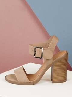 Open Toe Solid Strap Stacked Block Heel Sandals