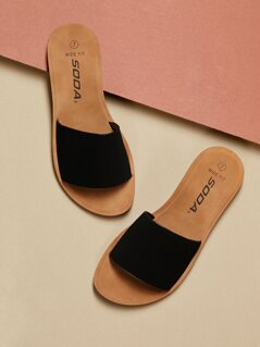 Wide Fit Thick Band Slip On Flat Sandals